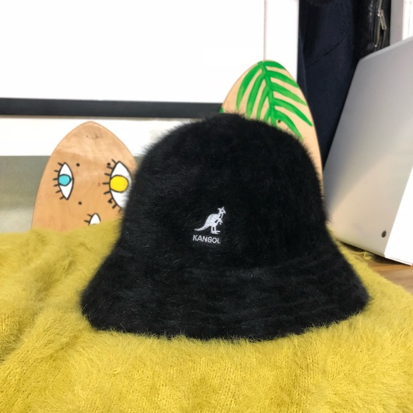 82ba5c1b90649 Kangol Accessories - KANGOL 80s 90s Angora Black Bucket Hat